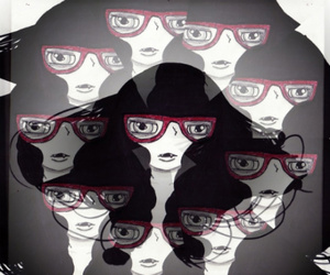 black, glasses, and red image