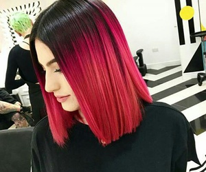 hair, red, and black image