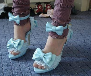 blue, bow, and shoes image