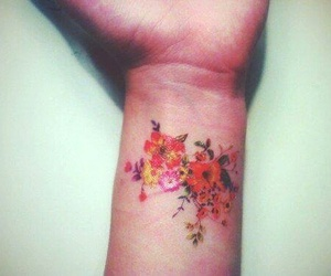 tattoo, flowers, and wrist image