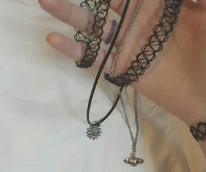 accessories, chokers, and grunge image