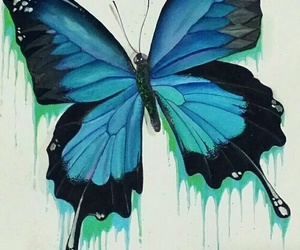 blue, butterfly, and painting image