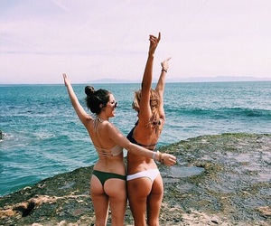 best friends, bikini, and fashion image