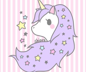 unicorn, pink, and stars image