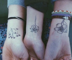 tattoo, flowers, and friends image