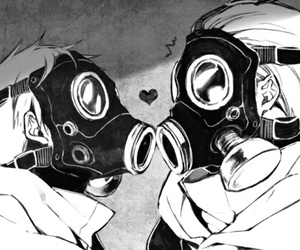 gas mask, love, and anime image