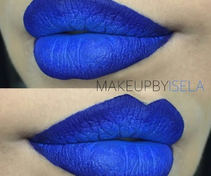 blue, lips, and makeup image