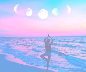 beach, girl, and moon image