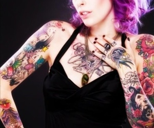 colorful, girl, and tattoo image