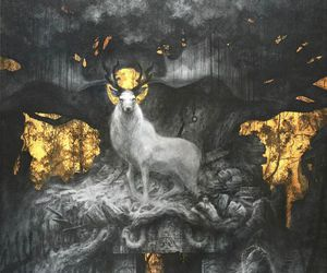 art, deer, and gold image