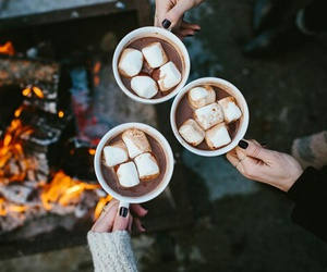 coffee, marshmallow, and winter image