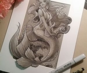 art, fantasy, and mermaid image