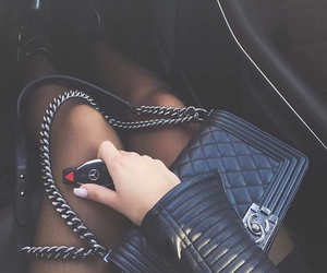 bag, black leather, and chanel image