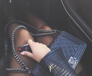 bag, black leather, and keys image