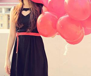 balloons, dress, and pink image