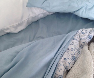 bed, pastel blue, and blue image