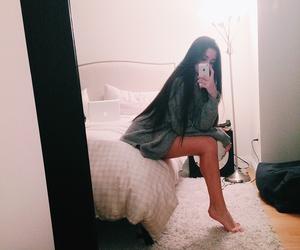 girl, long hair, and mirror image