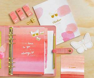 butterfly, diary, and pink image