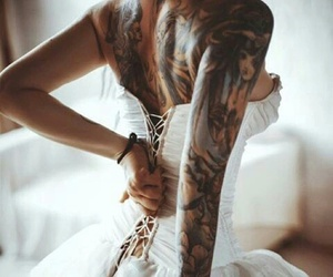 tattoo, dress, and wedding image