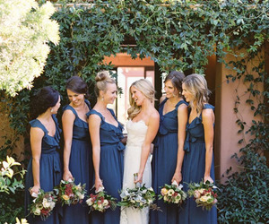 bff, blue and white, and bridesmaid image