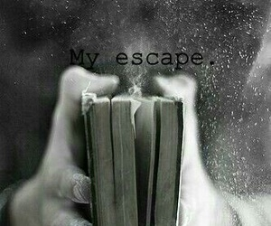book, escape, and black and white image