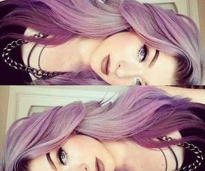 hair, purple, and makeup image