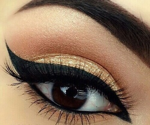 eyebrows, gold, and makeup image