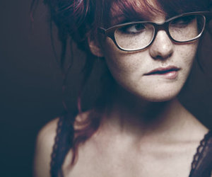 girl, glasses, and freckles image