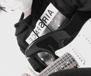 boy, guiter, and monochrome image