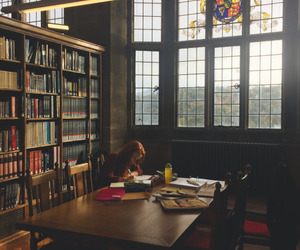 books, hogwarts, and library image