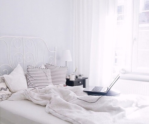 white, bedroom, and bed image