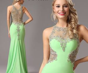 evening dress, green dress, and prom dress image