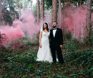 forest, pink, and smoke image