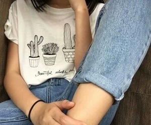 clothes, jeans, and plants image
