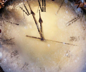 clock, christmas, and snow image