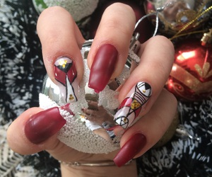 nails art red white image