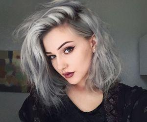 hair, grey, and makeup image