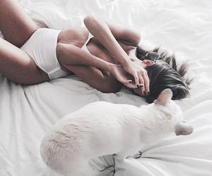 girl, dog, and white image