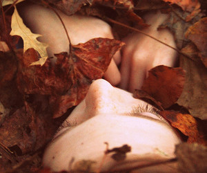 autumn, girl, and leaves image