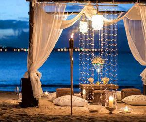 beach, romantic, and night image