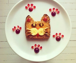 food, cat, and breakfast image