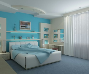 bedroom, blue, and room image