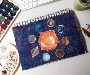 drawing, planets, and space image