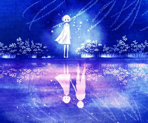 anime, blue, and alone image
