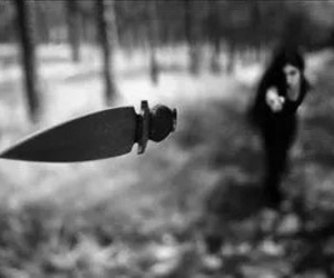 black and white and knife image