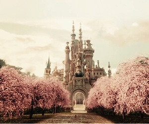 castle, pink, and disney image