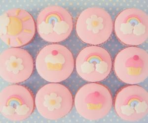cupcake, pink, and rainbow image