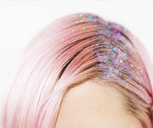 hair, glitter, and pink image