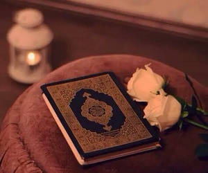candle, rose, and quraan image