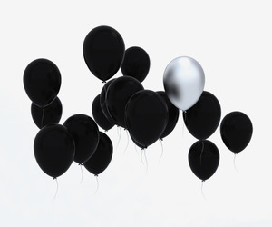 balloons, black, and one image